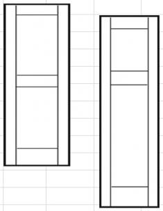 филёнчатые ставни с прямой верхней вставкой 305 х 1702мм (ПАРА)